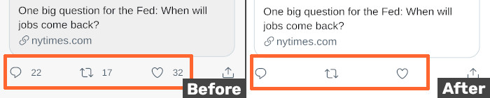 Pic of how filters hide reply, retweet and like counts for a tweet, before and after